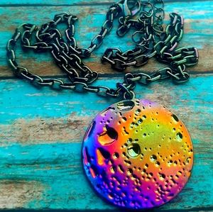 Jewelry - Space Rainbow Moon Colored Pendant Necklace